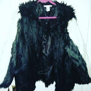 aa4fcecba7 Jackets & Blazers - Black white and gray faux fur coat 2X